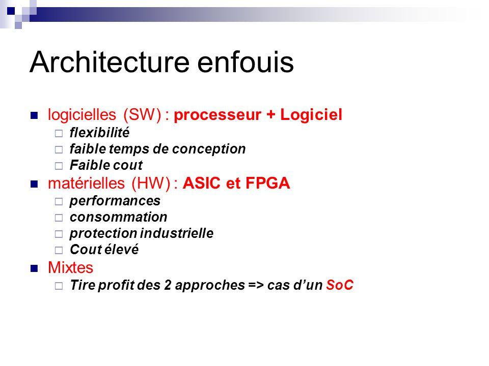 Architecture enfouis logicielles (SW) : processeur + Logiciel
