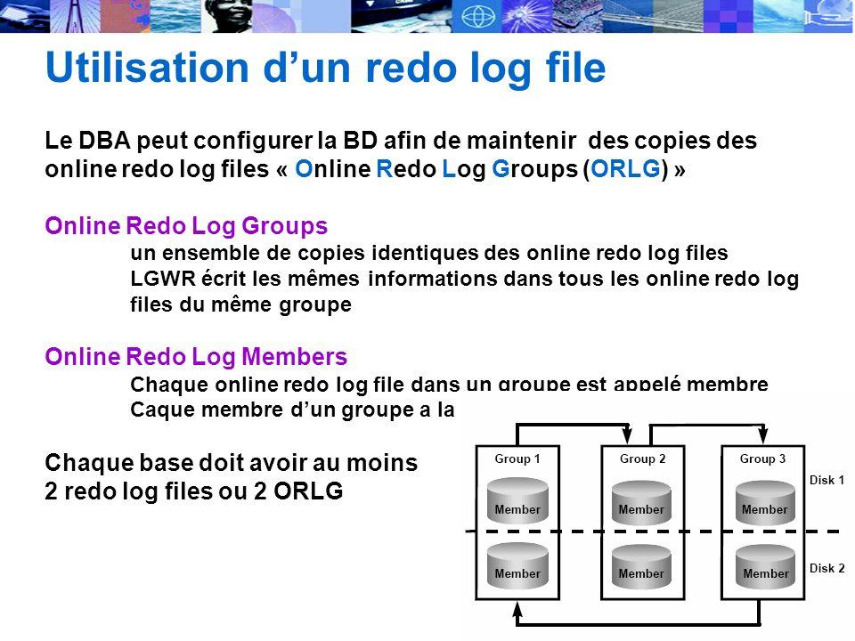 Utilisation d'un redo log file