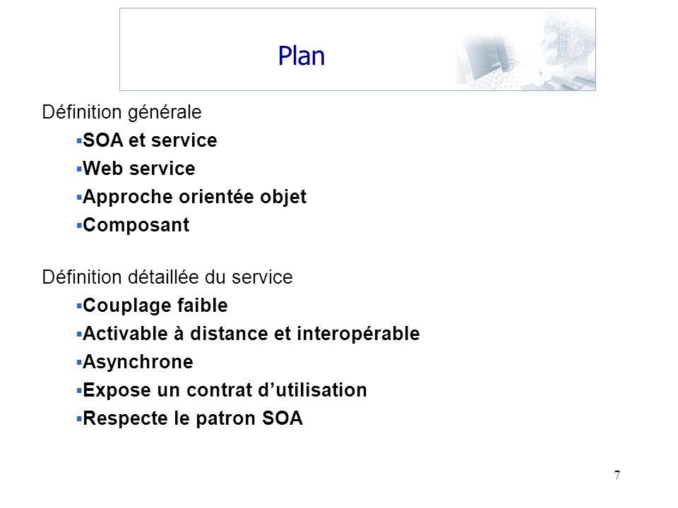 Plan Définition générale SOA et service Web service