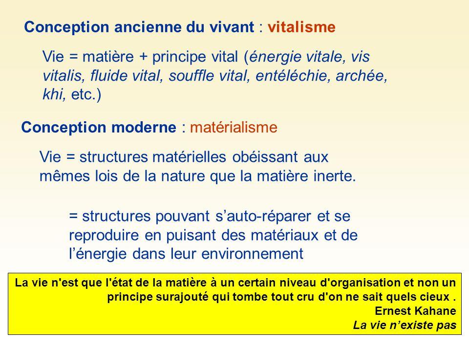 Conception ancienne du vivant : vitalisme