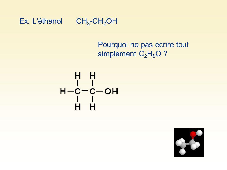 Ex. L éthanol CH3-CH2OH Pourquoi ne pas écrire tout simplement C2H6O