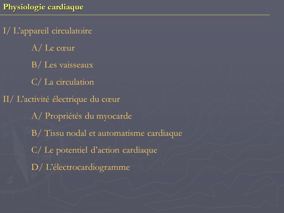 I/ L'appareil circulatoire A/ Le cœur B/ Les vaisseaux