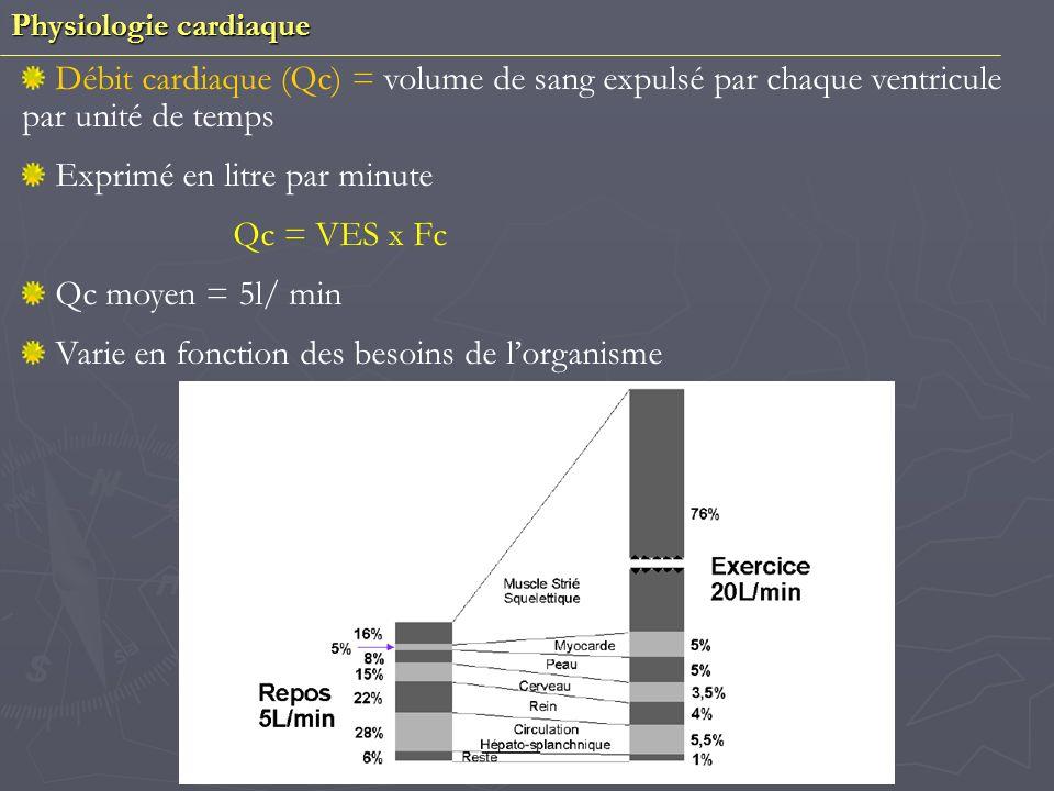Exprimé en litre par minute Qc = VES x Fc Qc moyen = 5l/ min