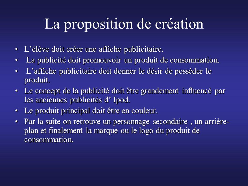 La proposition de création