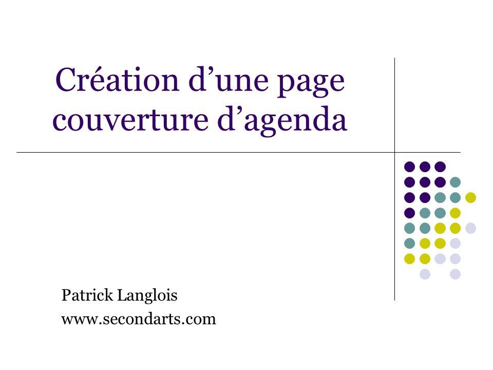 Création d'une page couverture d'agenda