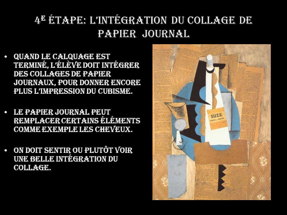 4e étape: L'intégration du collage de papier journal