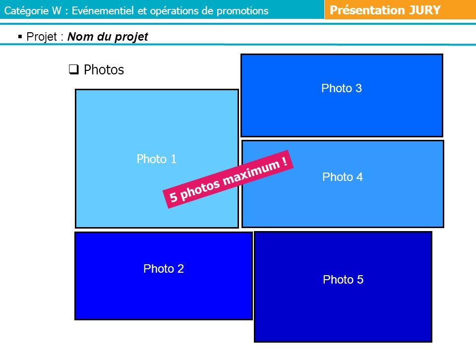 Photos Présentation JURY Projet : Nom du projet Photo 3 Photo 1