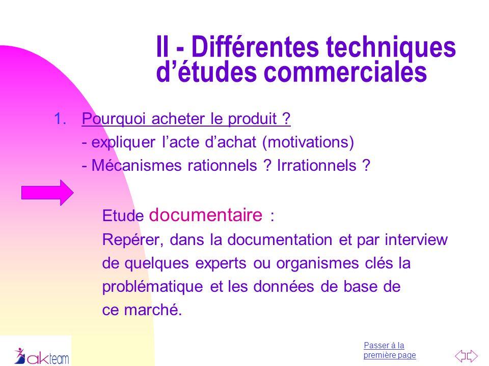II - Différentes techniques d'études commerciales