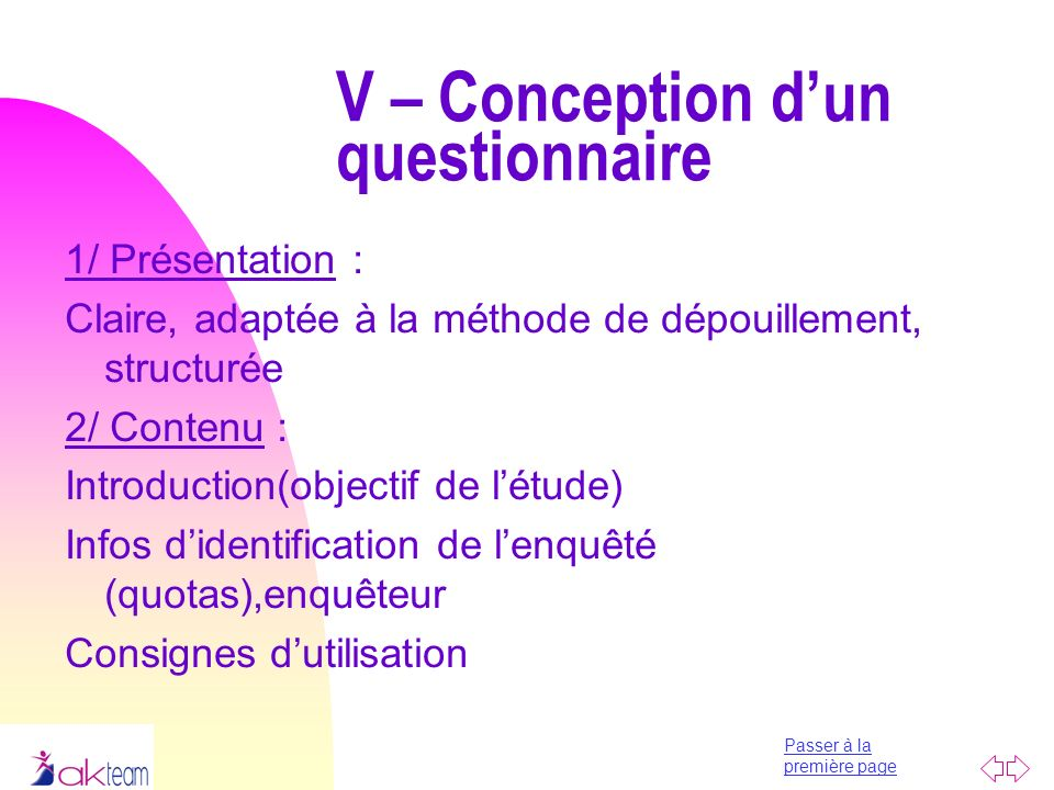 V – Conception d'un questionnaire