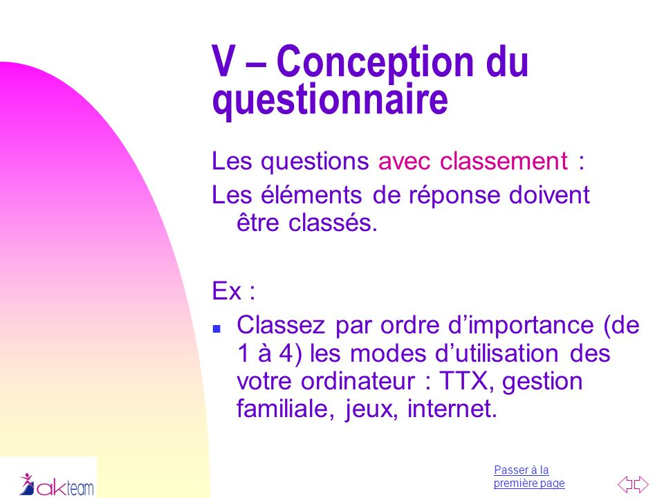 V – Conception du questionnaire