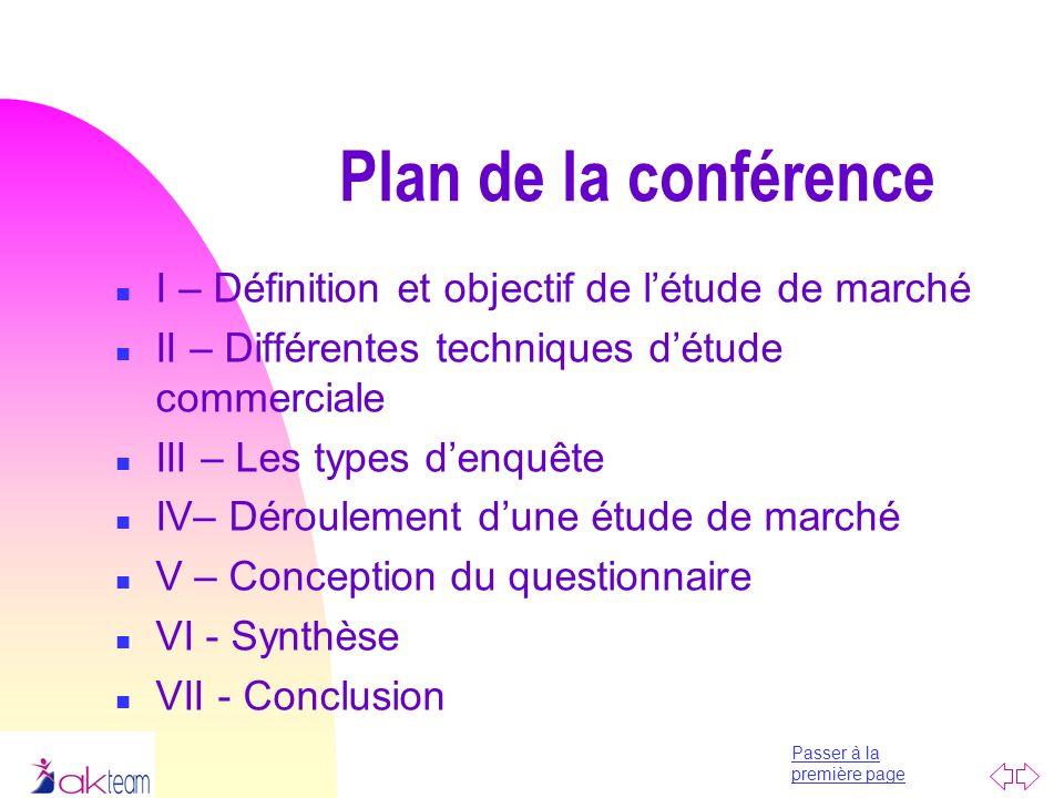 Plan de la conférence I – Définition et objectif de l'étude de marché