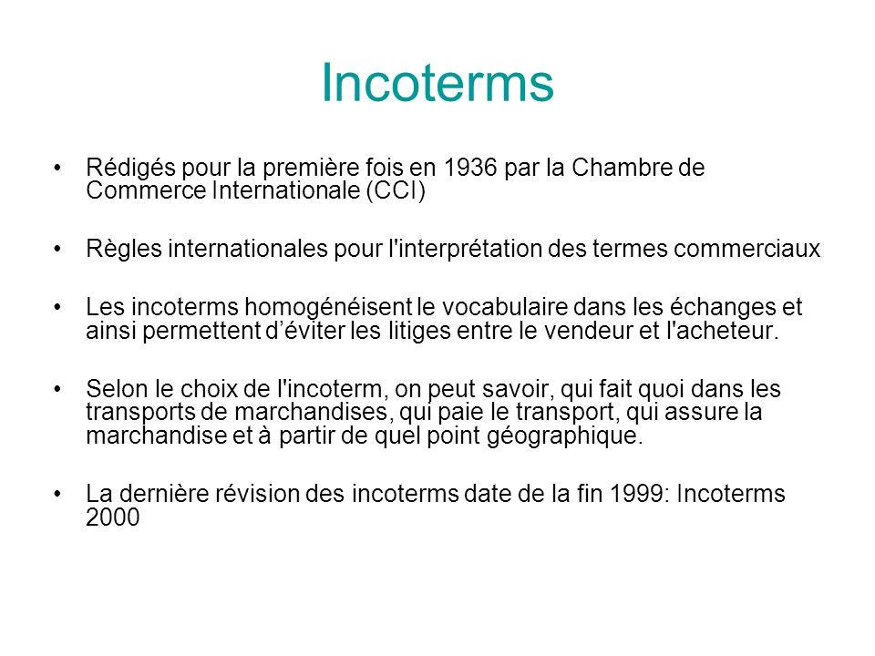 Incoterms Rédigés pour la première fois en 1936 par la Chambre de Commerce Internationale (CCI)