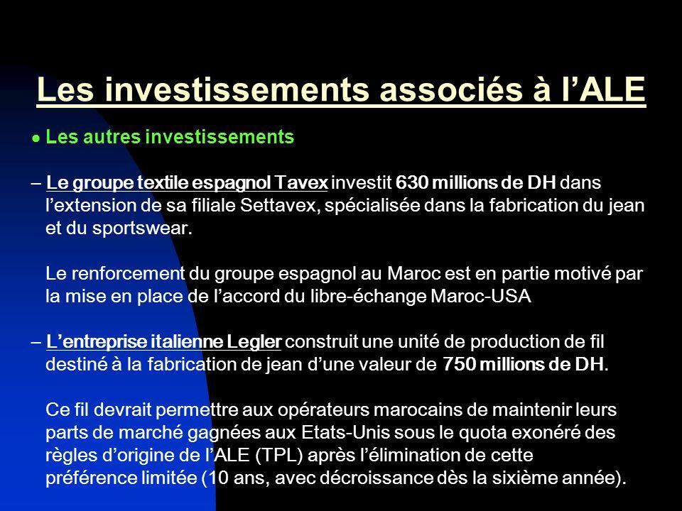 Les investissements associés à l'ALE
