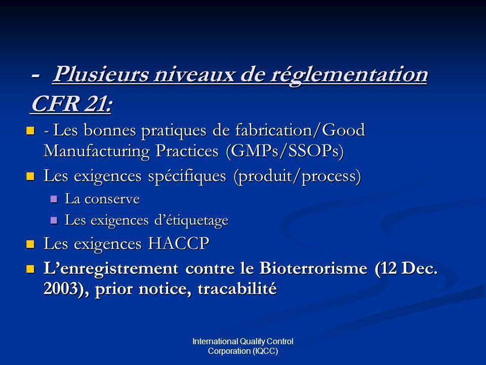 ‑ Plusieurs niveaux de réglementation CFR 21: