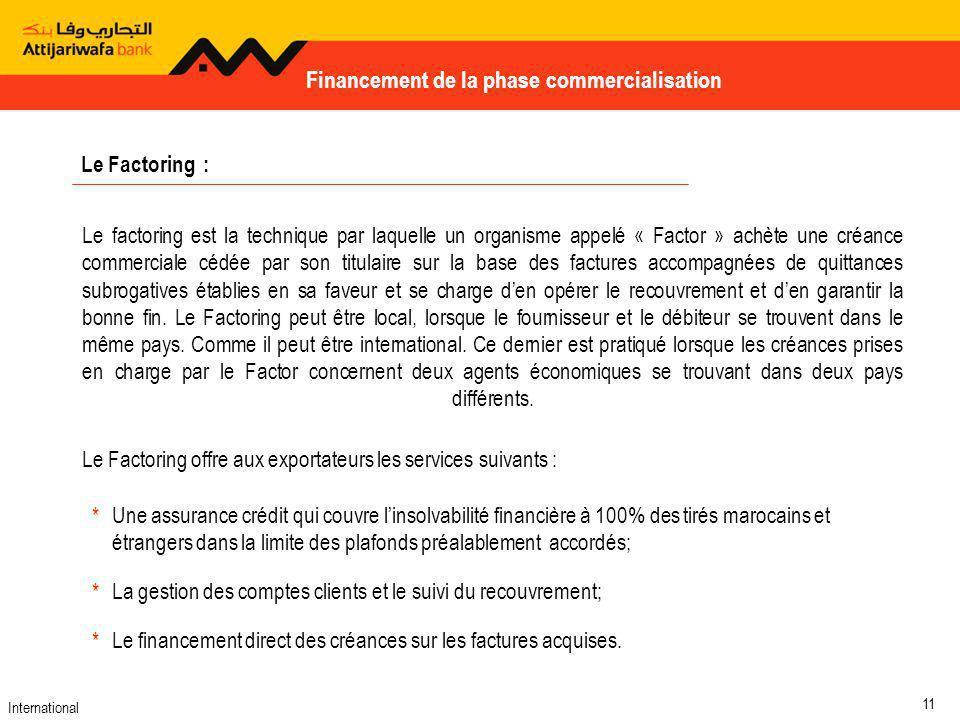 Financement de la phase commercialisation