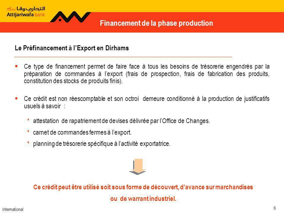 Le Préfinancement à l'Export en Dirhams ou de warrant industriel.