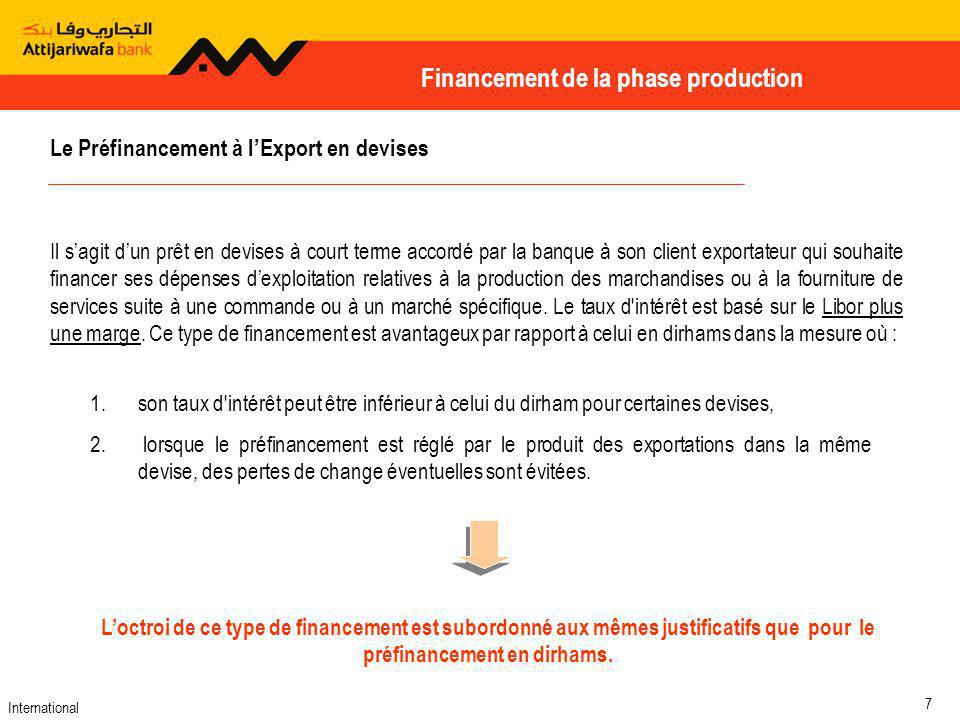 Financement de la phase production