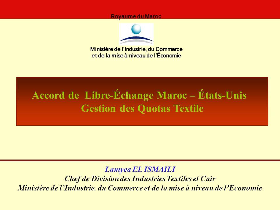 Accord de Libre-Échange Maroc – États-Unis Gestion des Quotas Textile