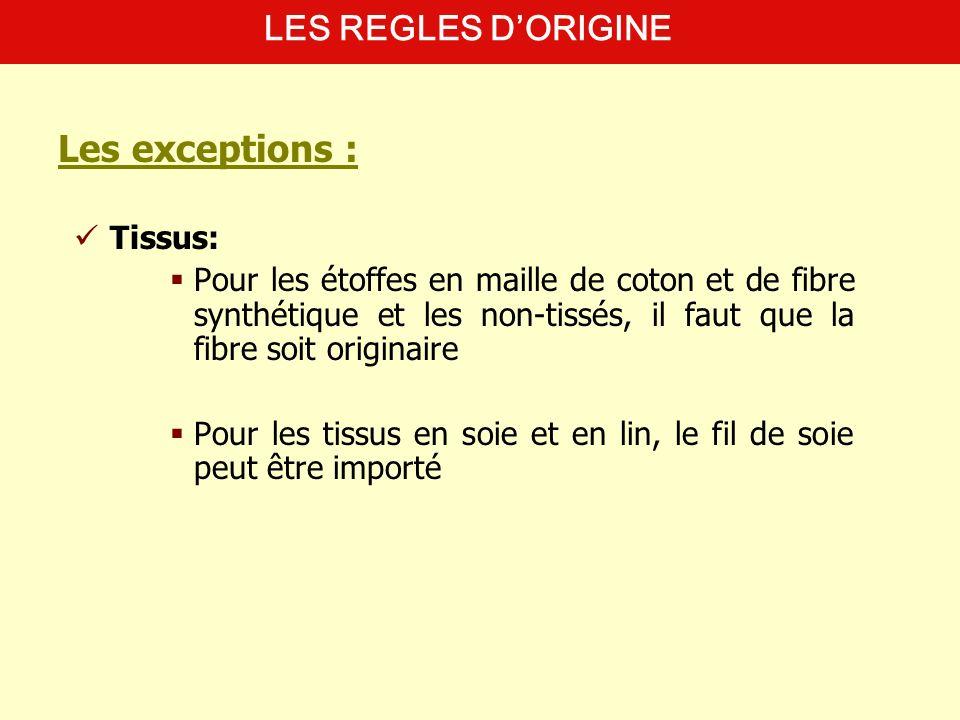 Les exceptions : LES REGLES D'ORIGINE Tissus: