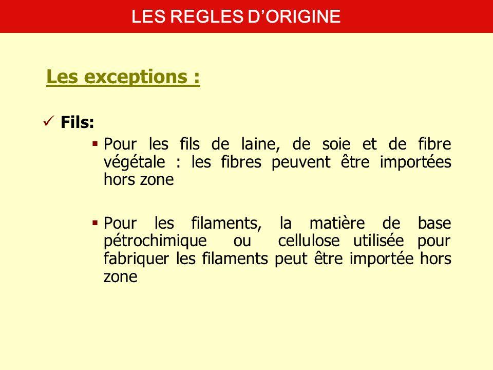 Les exceptions : LES REGLES D'ORIGINE Fils: