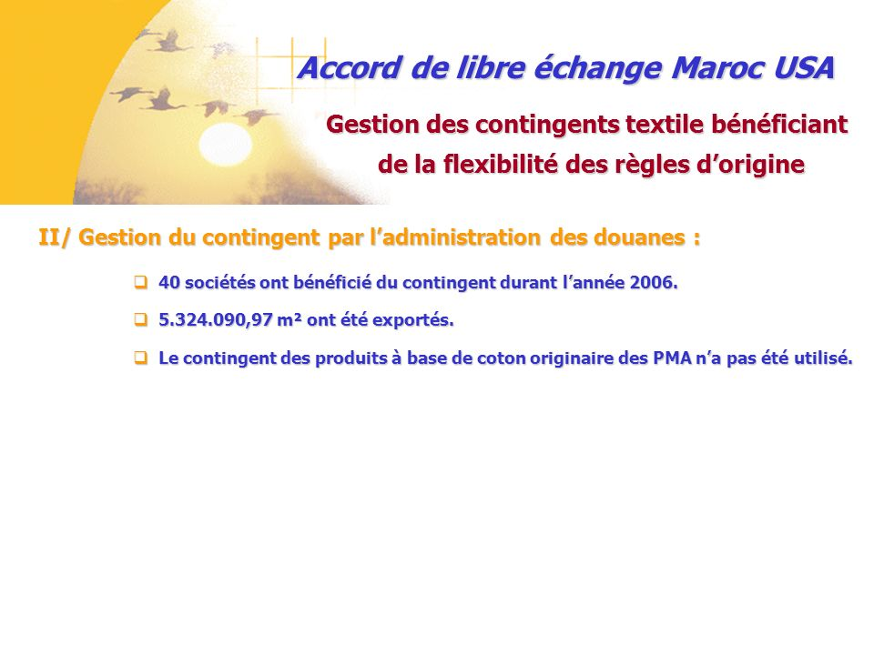 Accord de libre échange Maroc USA