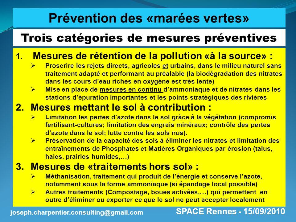 Prévention des «marées vertes» Trois catégories de mesures préventives