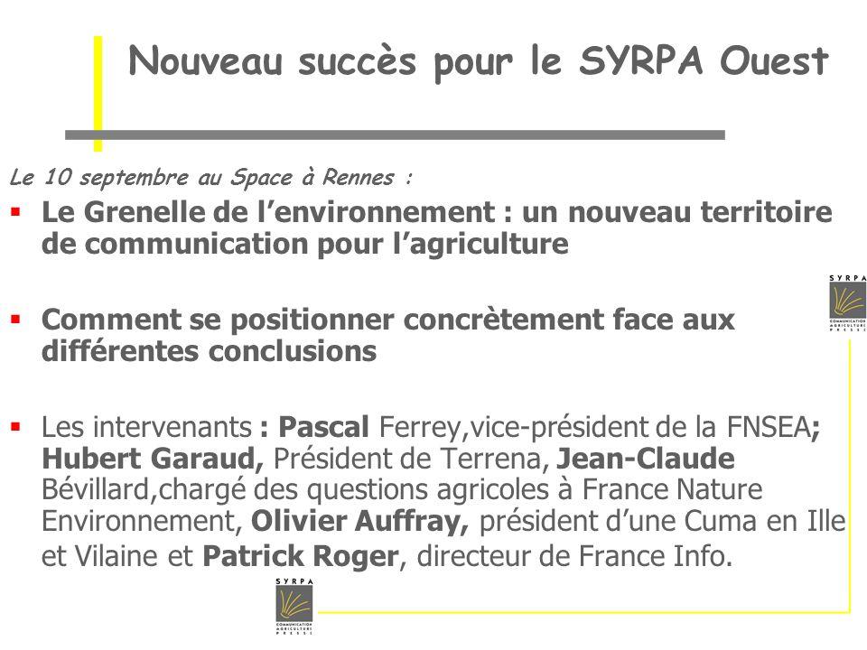 Nouveau succès pour le SYRPA Ouest
