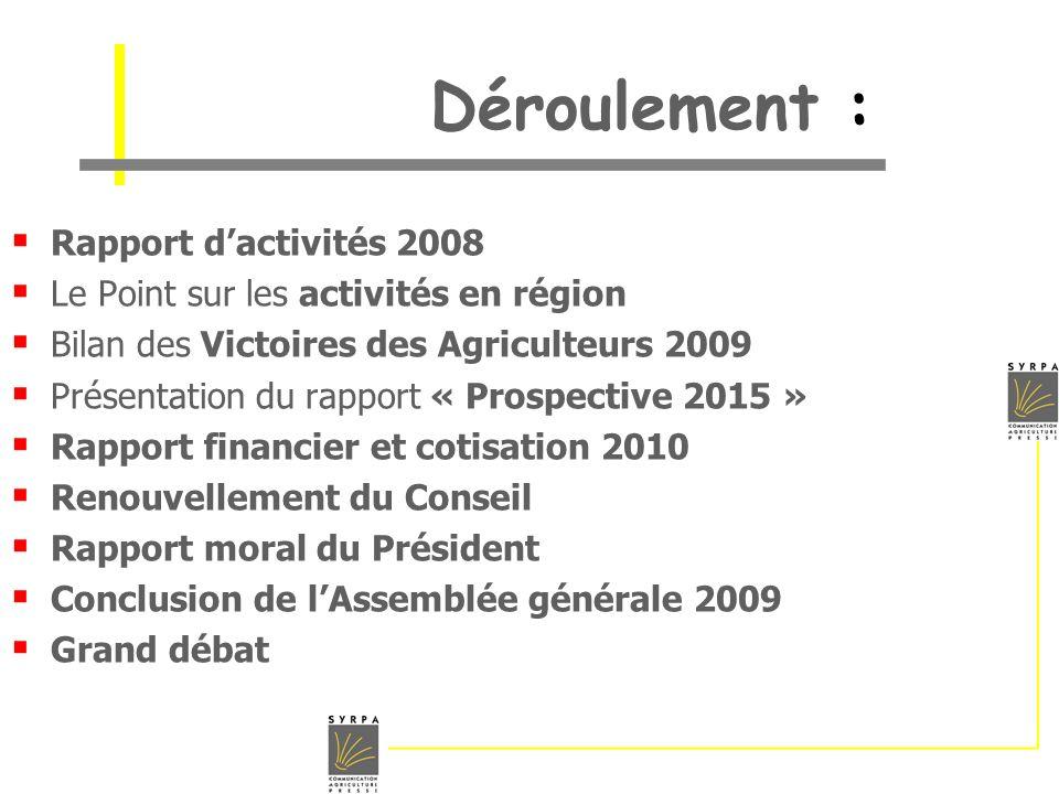 Déroulement : Rapport d'activités 2008