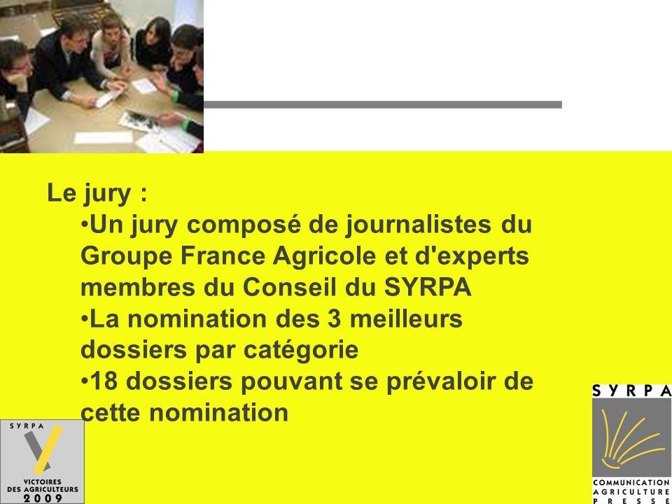 Le jury :Un jury composé de journalistes du Groupe France Agricole et d experts membres du Conseil du SYRPA.
