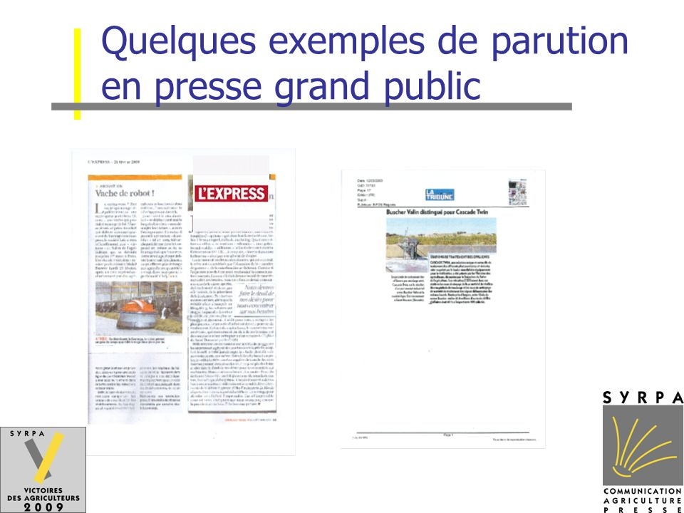 Quelques exemples de parution en presse grand public
