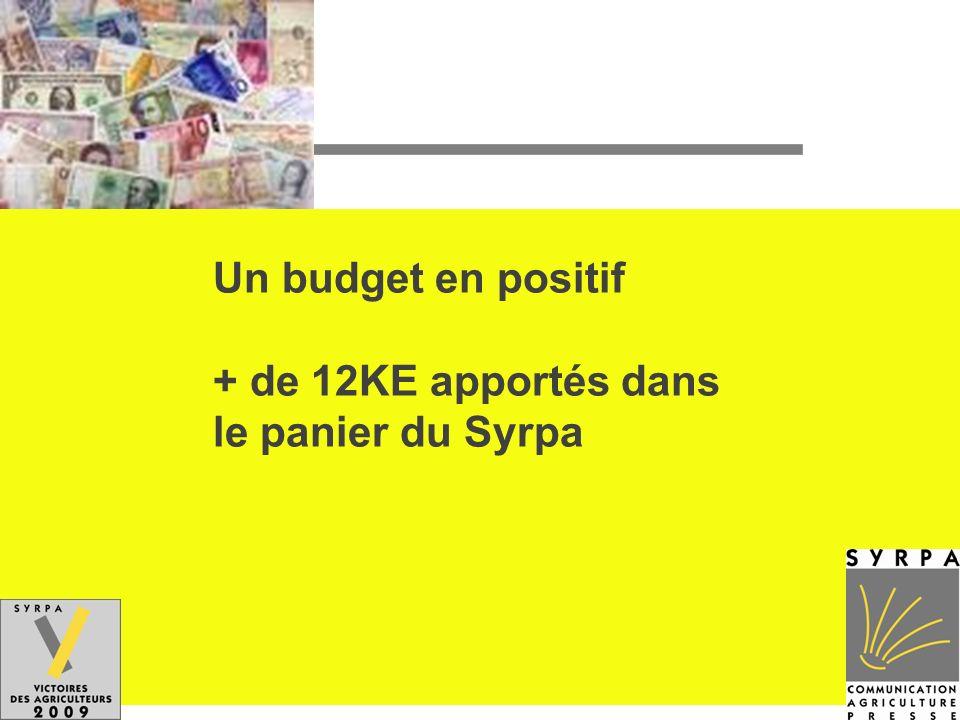 Un budget en positif + de 12KE apportés dans le panier du Syrpa