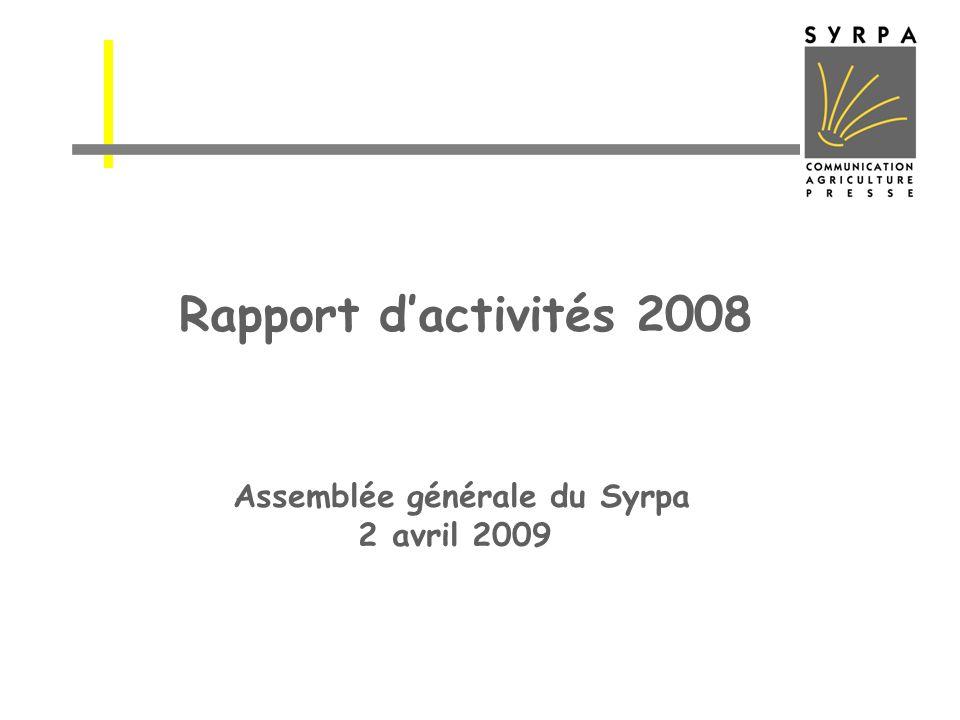 Rapport d'activités 2008 Assemblée générale du Syrpa 2 avril 2009