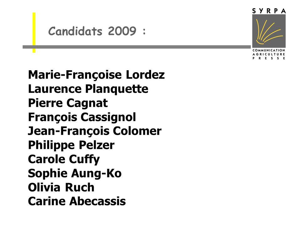 Candidats 2009 :Marie-Françoise Lordez. Laurence Planquette. Pierre Cagnat. François Cassignol. Jean-François Colomer.