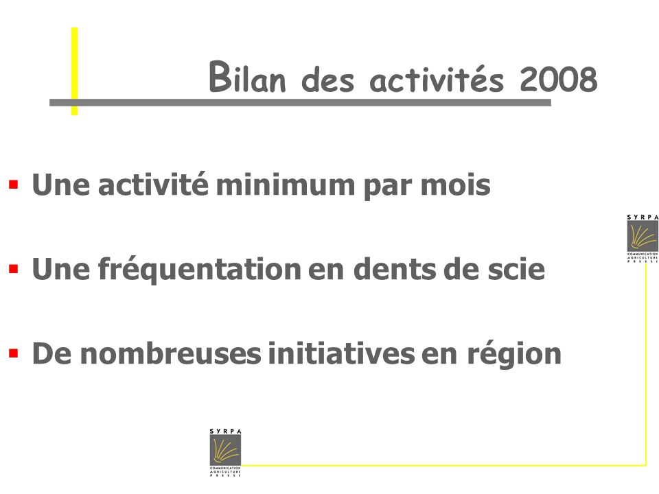 Bilan des activités 2008 Une activité minimum par mois