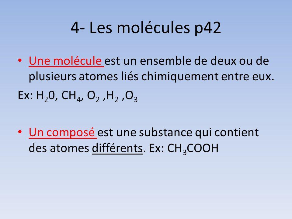 4- Les molécules p42 Une molécule est un ensemble de deux ou de plusieurs atomes liés chimiquement entre eux.