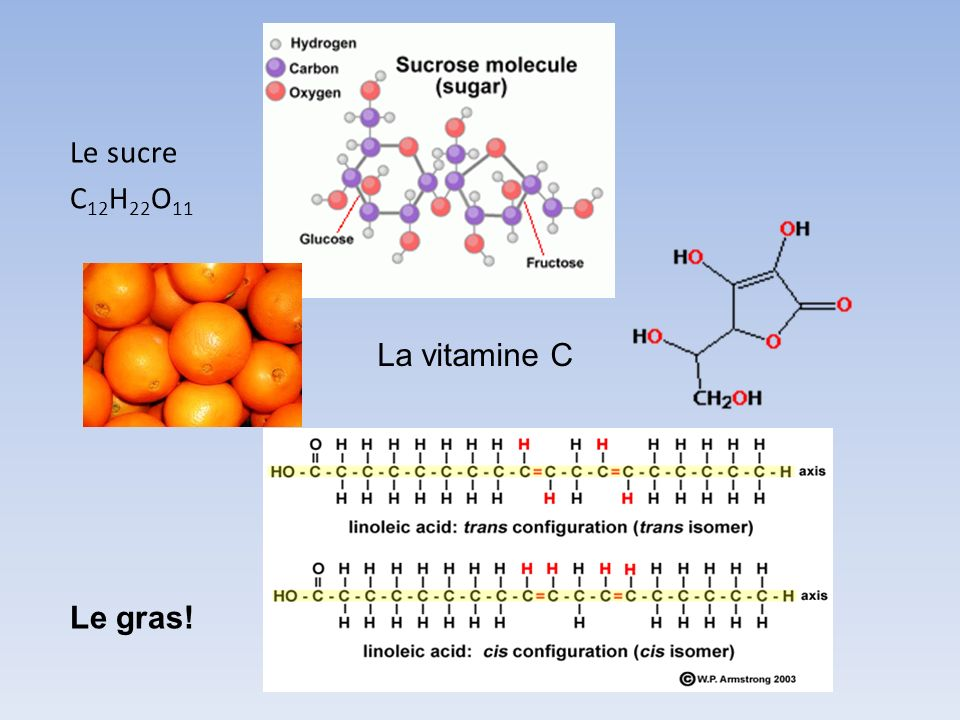 Le sucre C12H22O11 La vitamine C Le gras!