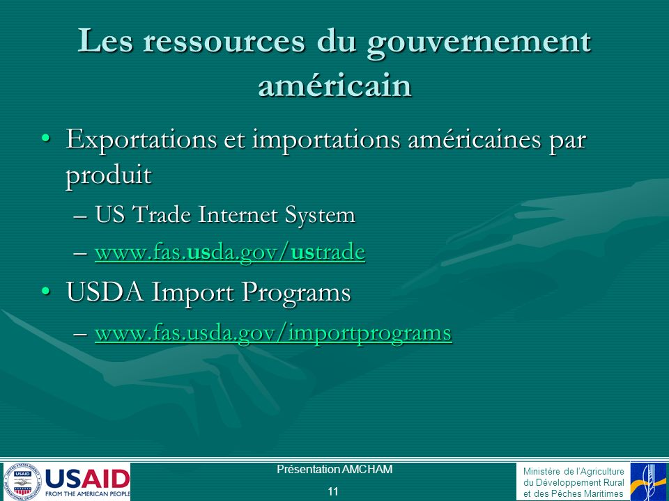 Les ressources du gouvernement américain