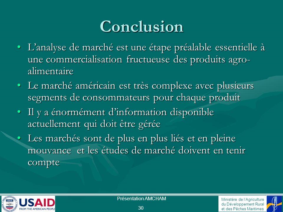 Conclusion L'analyse de marché est une étape préalable essentielle à une commercialisation fructueuse des produits agro-alimentaire.