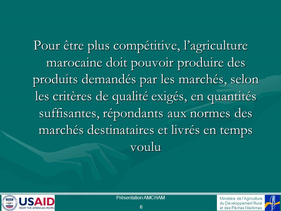 Pour être plus compétitive, l'agriculture marocaine doit pouvoir produire des produits demandés par les marchés, selon les critères de qualité exigés, en quantités suffisantes, répondants aux normes des marchés destinataires et livrés en temps voulu