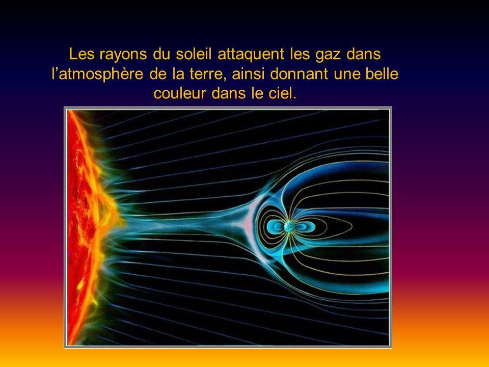 Les rayons du soleil attaquent les gaz dans l'atmosphère de la terre, ainsi donnant une belle couleur dans le ciel.