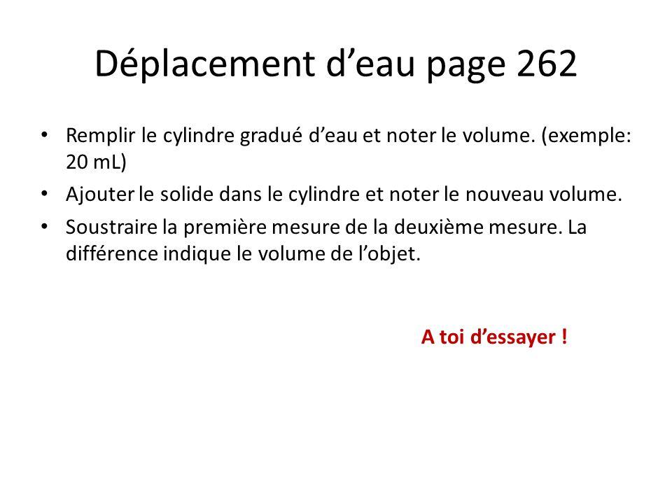 Déplacement d'eau page 262