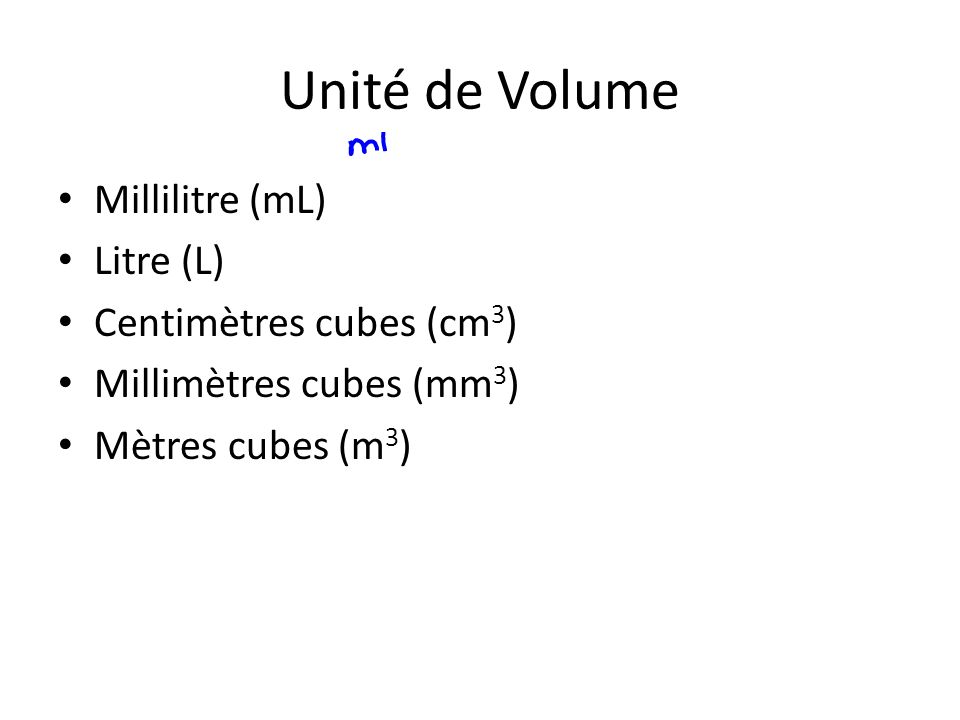 Unité de Volume Millilitre (mL) Litre (L) Centimètres cubes (cm3)