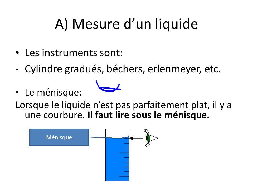 A) Mesure d'un liquide Les instruments sont: