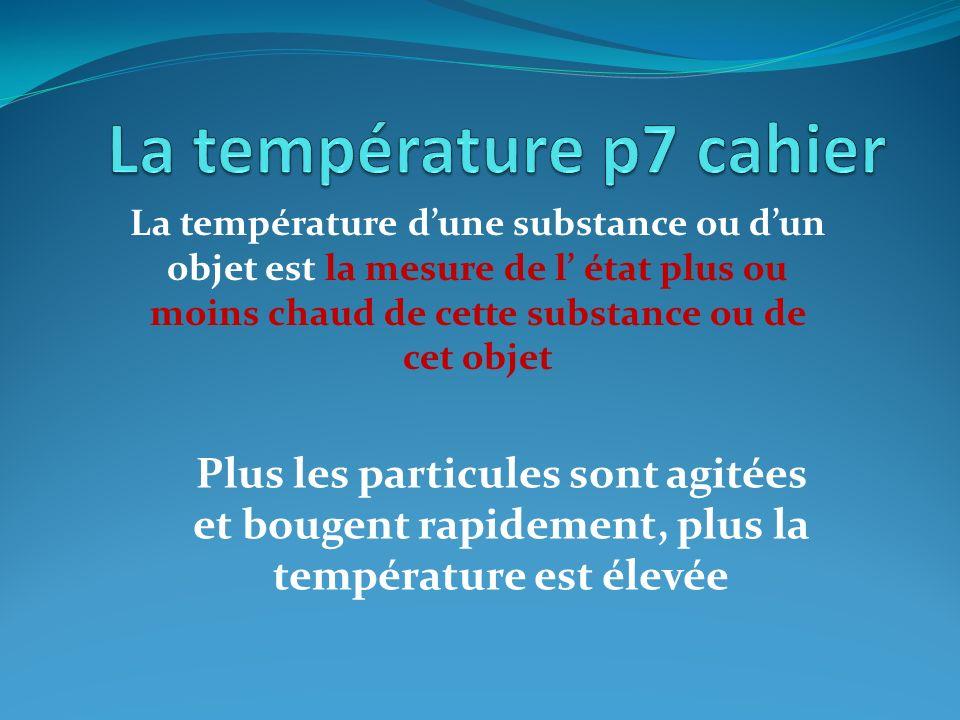 La température p7 cahier