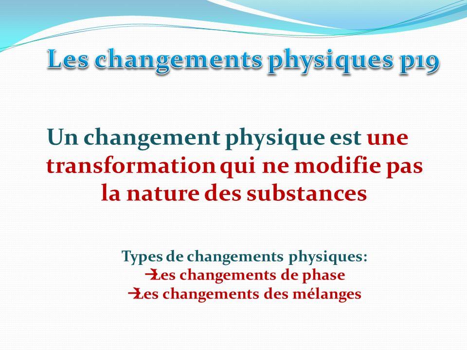 Les changements physiques p19