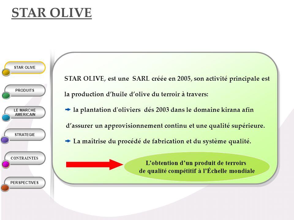 STAR OLIVE STAR OLIVE, est une SARL créée en 2005, son activité principale est. la production d'huile d'olive du terroir à travers: