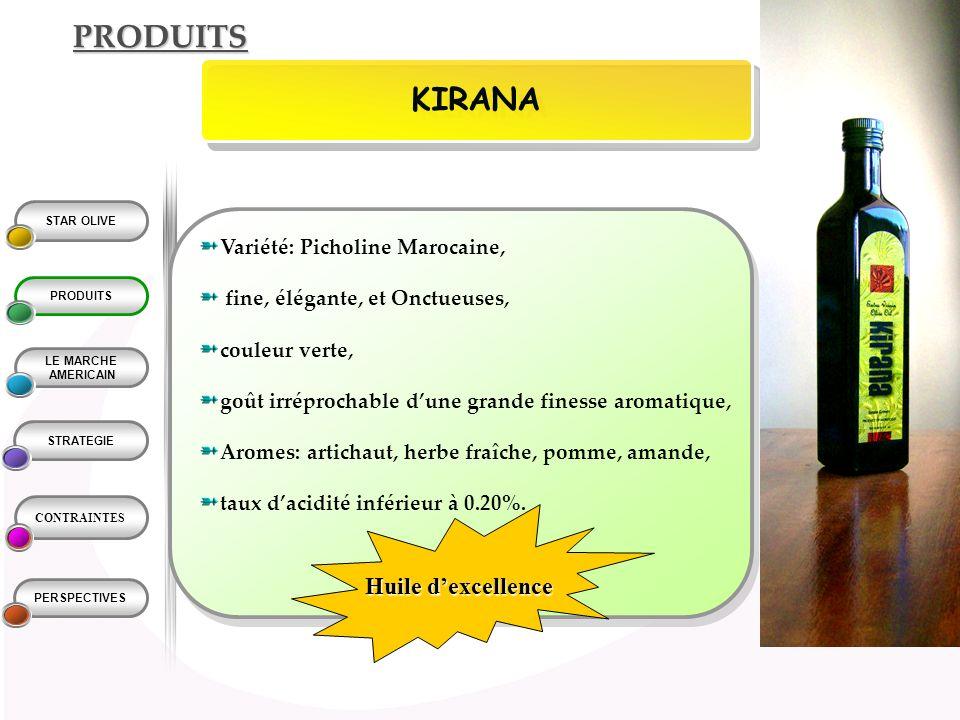 PRODUITS KIRANA Huile d'excellence Variété: Picholine Marocaine,