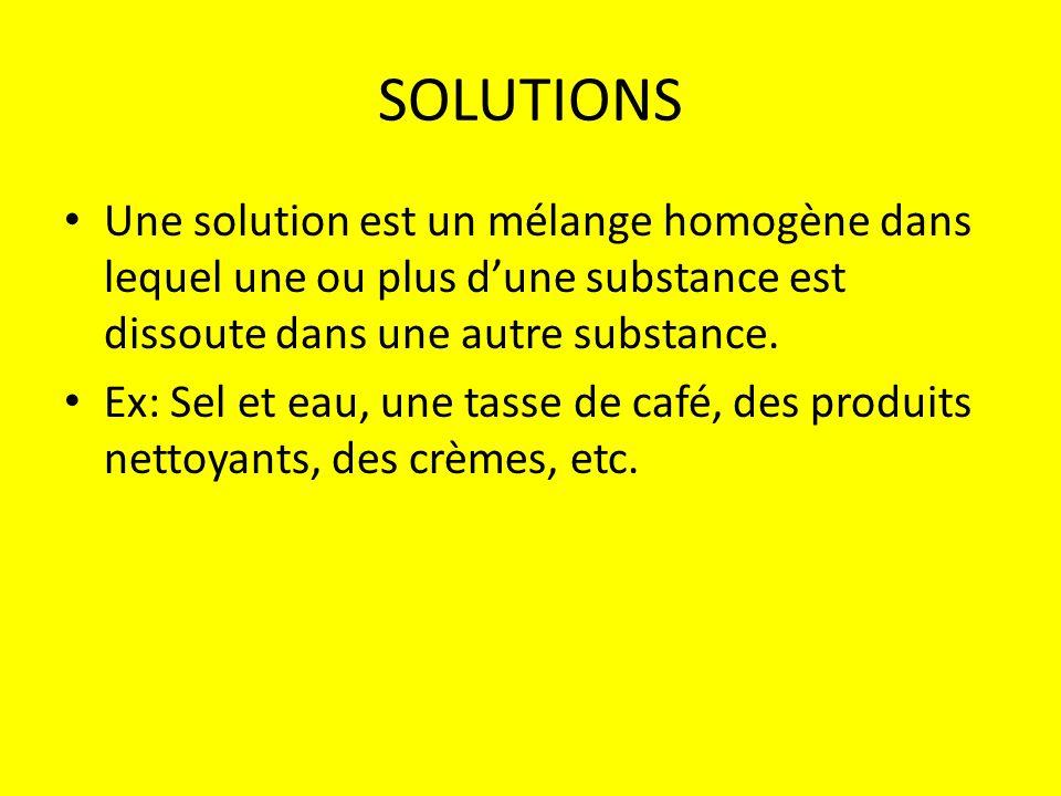 SOLUTIONS Une solution est un mélange homogène dans lequel une ou plus d'une substance est dissoute dans une autre substance.