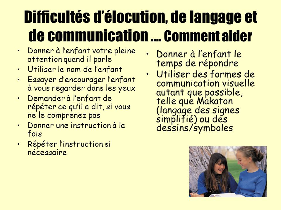 Difficultés d'élocution, de langage et de communication …