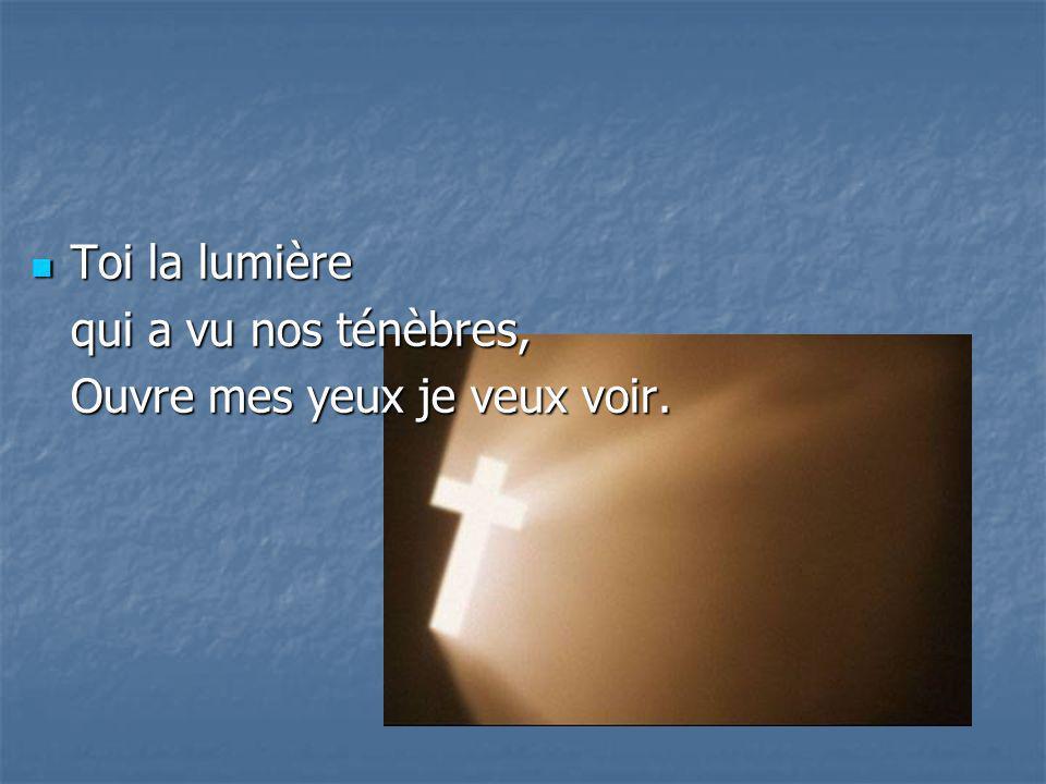 Toi la lumière qui a vu nos ténèbres, Ouvre mes yeux je veux voir.